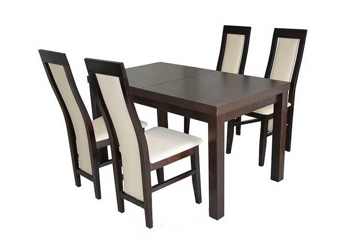 zestaw krzeseł tapicerowanych ze stołem