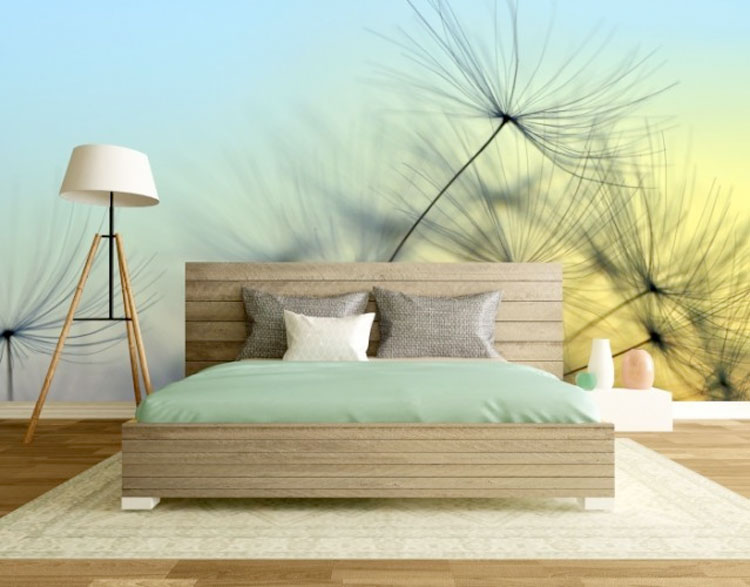 fototapeta z dmuchawcem umieszczona na ścianie w sypialni