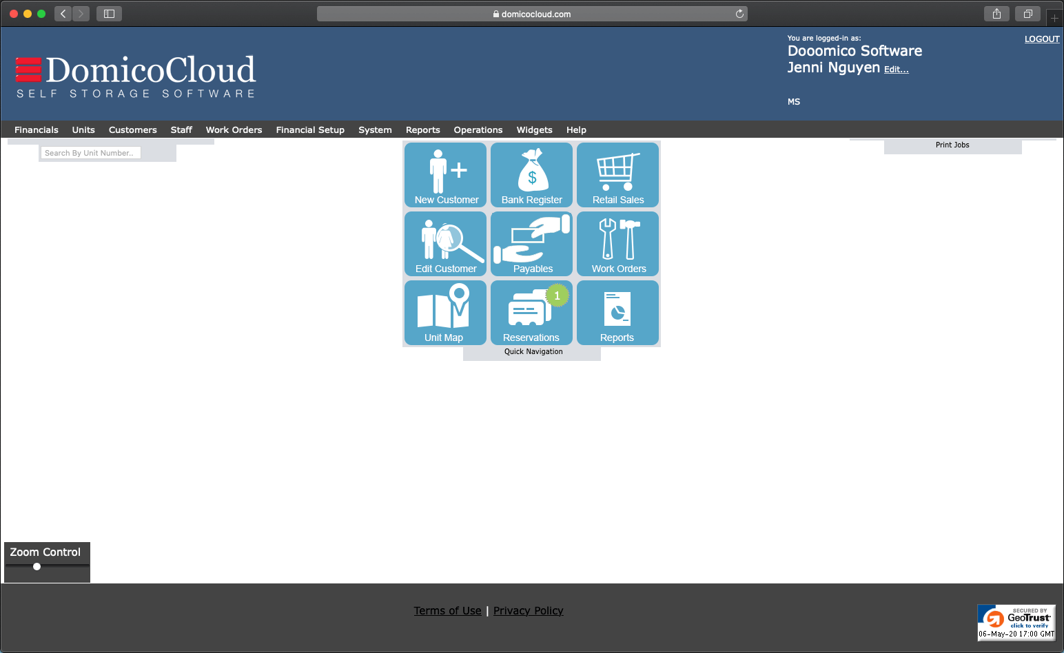 DomicoCloud Home Screen
