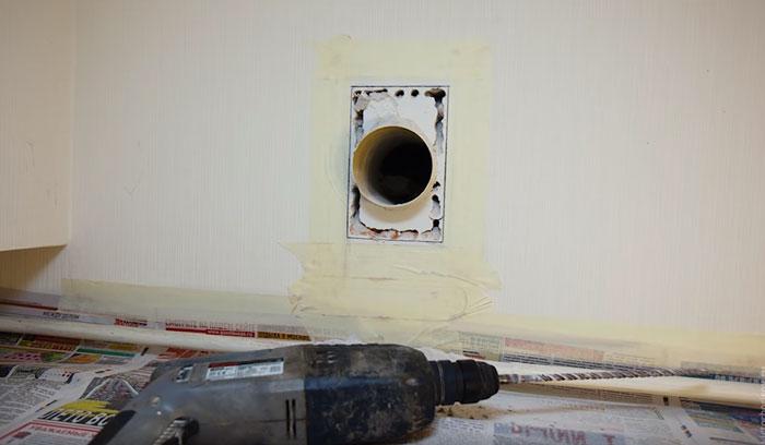 A szellőzőcsatorna nyílásának bővítése a kivonat alatt