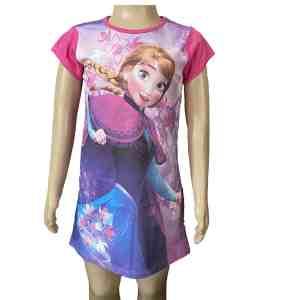 Chemise de nuit la reine des neiges rose