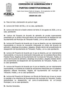 Puntos para desaparecer el cabildo de Tehuacán