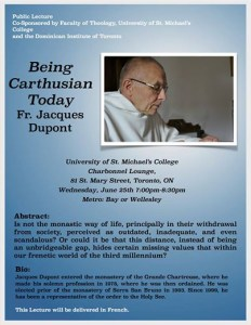 This blue poster promoted a lecture by Fr. Jacques Dupont. It contains his biography, abstract and photo. The lectured was delivered in French but this version of the poster was written in English.