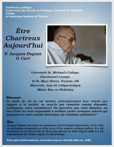 "This blue poster, written in French, promoted a lecture by Fr. Jacques Dupont called ""Being Carthusian Today."" It contains Dupont's abstract, his biography and his picture."