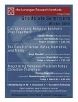 """This poster promoted graduate seminars at the Lonergan Research Institute at Regis College. During Winter 2014, Claudio Monge addressed the question: """"Can Abrhamic Religious Believers Pray Together?"""" The poster includes a picture of Lonergan on a blue background with a red banner. Other seminars and scholars' names appear in the poster."""