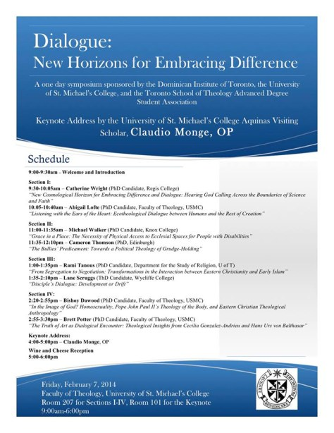 """Claudio Monge, OP delievered the keynote address at the symposium entitled """"Dialogue: New Horizons for Embracing Difference."""" This poster includes the schedule for the symposium and the seal of the Dominican Order."""