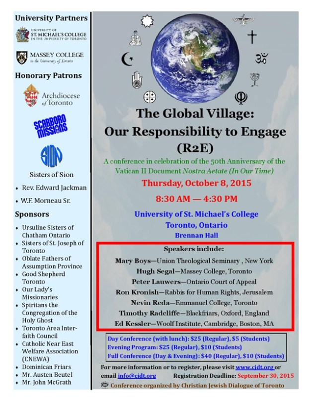 Poster promotes a conference entitled The Global Village: Our Responsibility to Engage.