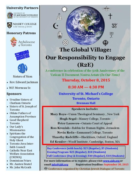 Poster promotes a conference entitled The Global Village: Our Responsibility to Engage. The conference occurs on October 8, 2015.