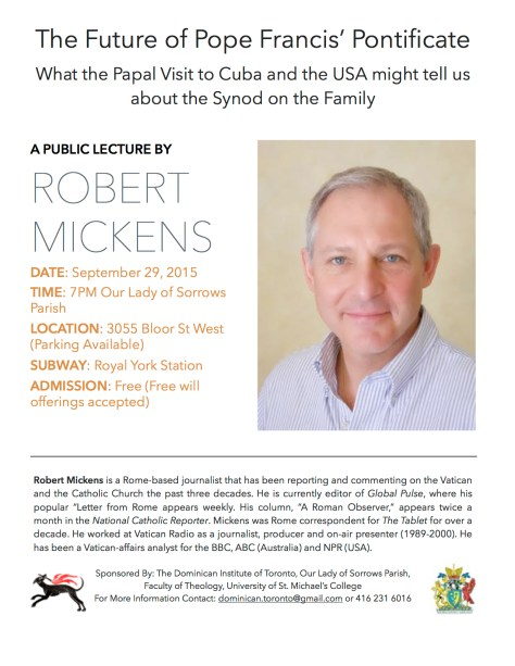Picture of Robert Mickens smiling on a poster. The poster promotes his lecture on the future of Pope Francis' Pontificate.