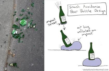 Non-smash glass beer bottle