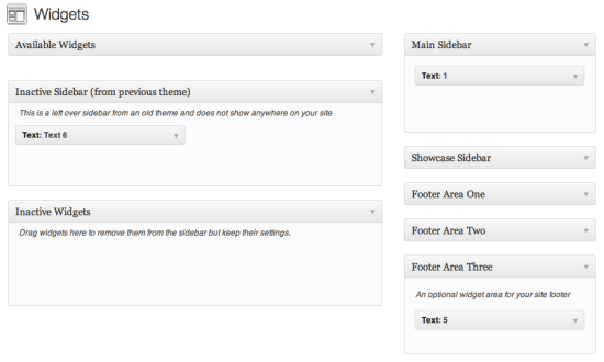 WordPress 3.3: Inactive Sidebar (from previous theme)