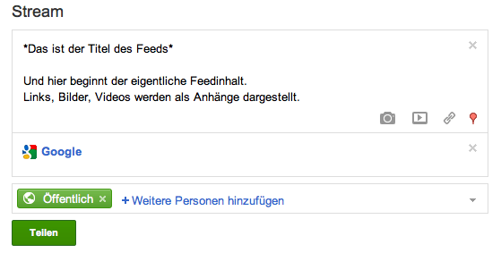 Google Plus Feed Post Formatierung