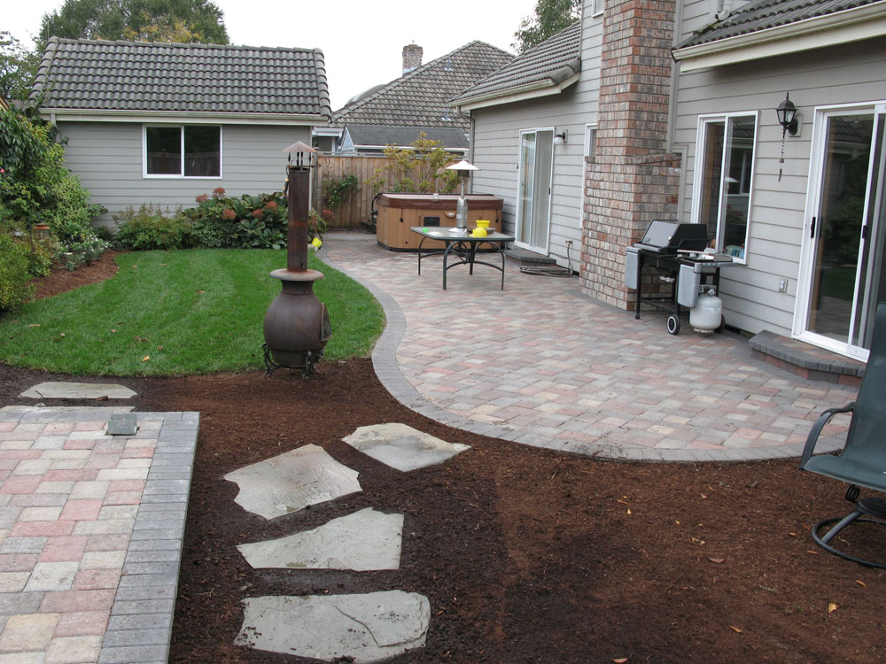 before after paver patio landscape