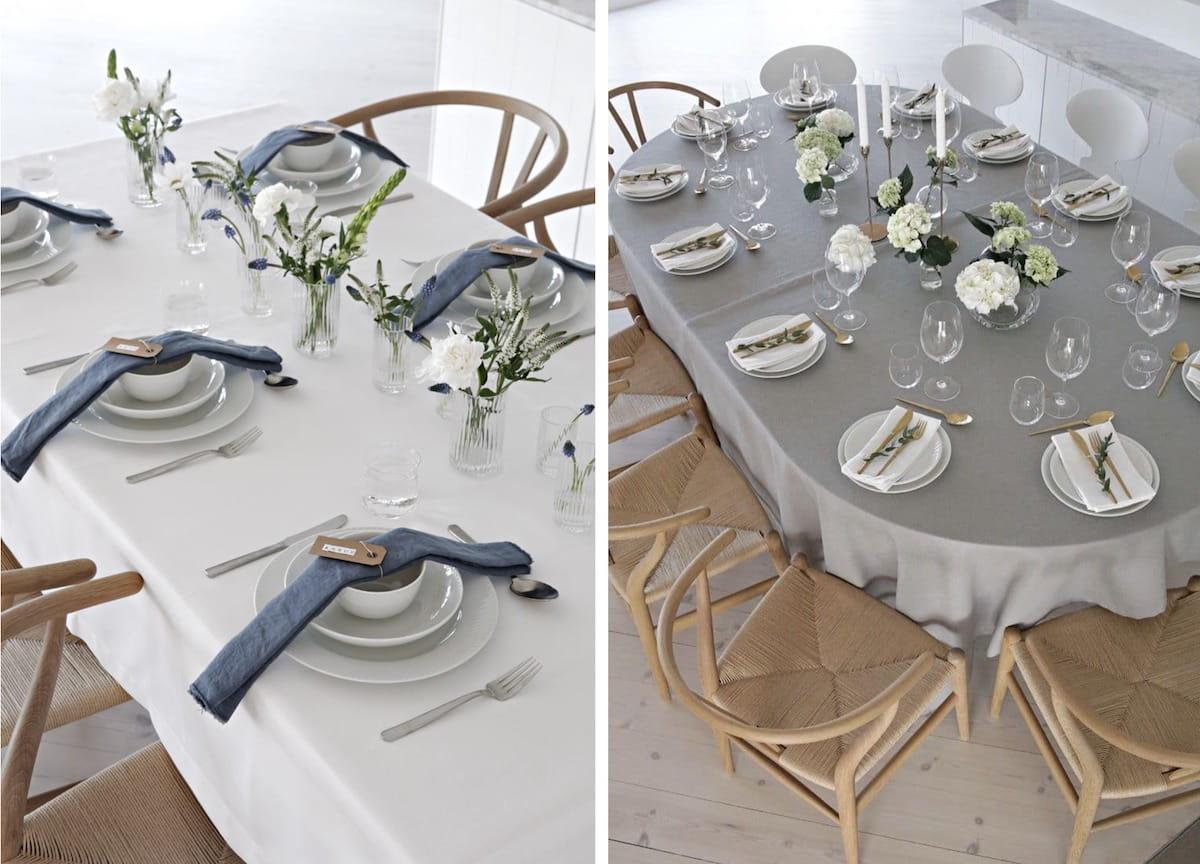 Ügyességes és szerényen díszített asztal skandináv minimalizmus jegyzetekkel