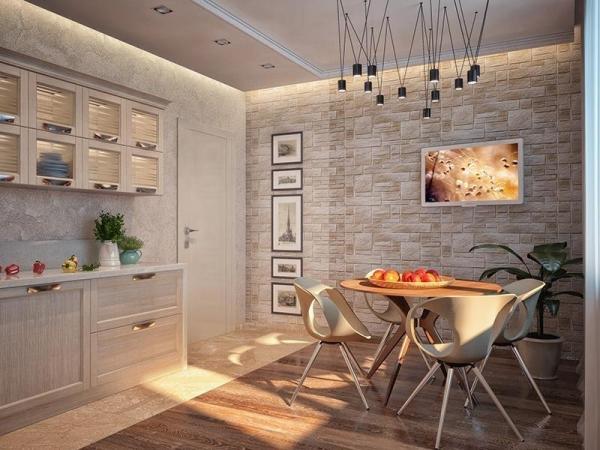 Комбинированные обои для кухни в интерьере: фото, дизайн ...