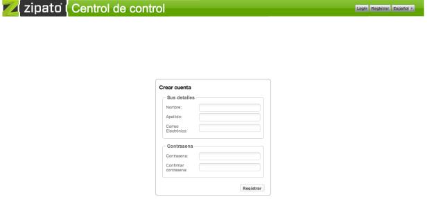 Pantalla de registro en my.zipato.com