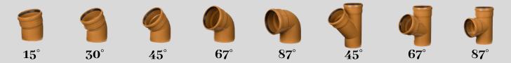 Kolana i trójniki, które łączą rury do kanalizacji 15, 30, 45, 67, 87