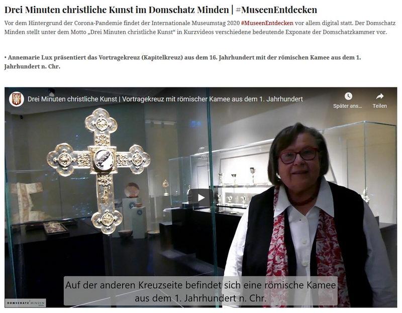 """Unter dem Motto """"Drei Minuten christliche Kunst"""" stellt der Dombau-Verein Minden Exponate aus dem Domschatz Minden vor. Foto: DVM"""