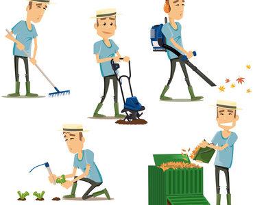 jardiner entrain de tondre couper soufflet des feuilles