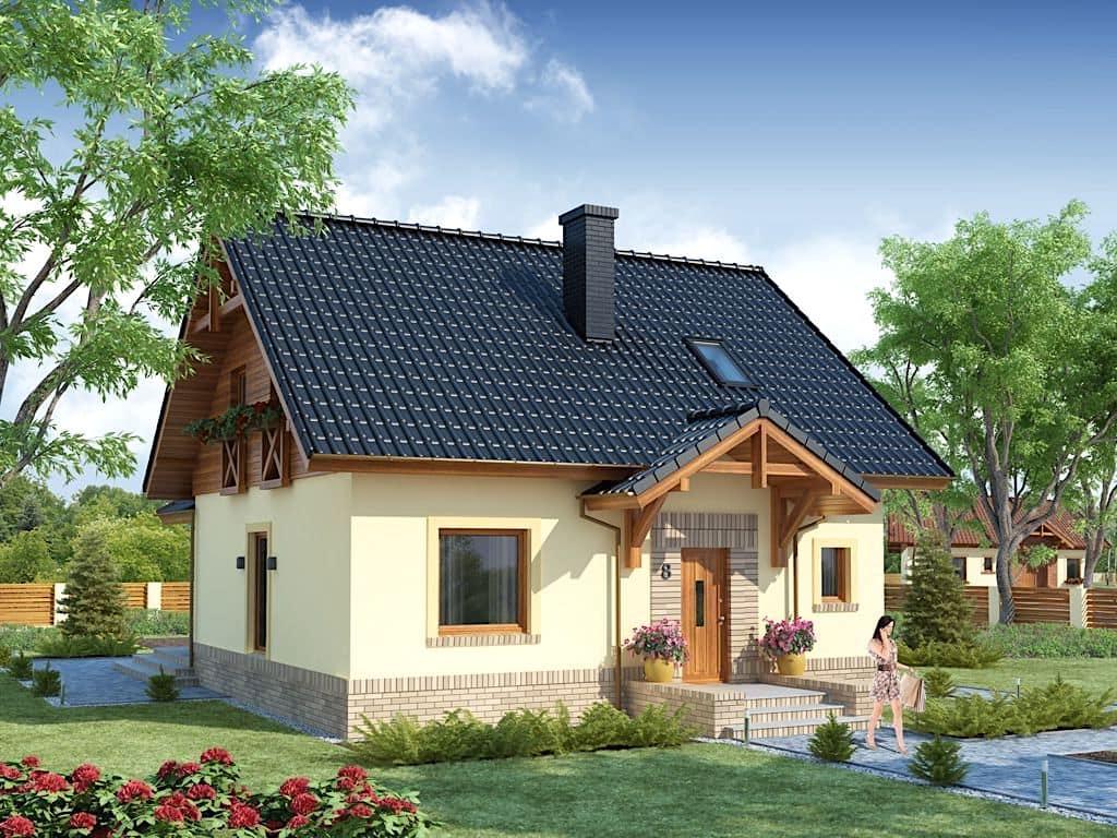 Casa acogedora con un diseño interesante e inusual de las paredes.