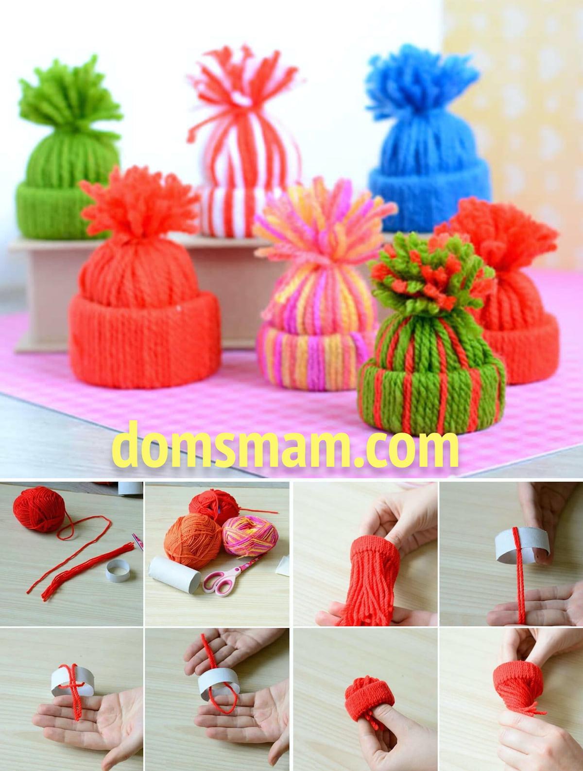 Новогодние шапочки из ярких цветных ниток