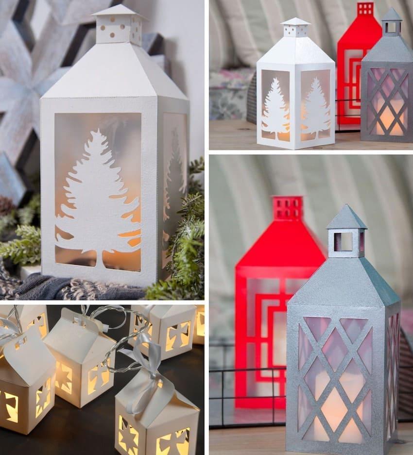 Для изготовления таких фонариков потребуется цветной картон, клей и маленькие свечи