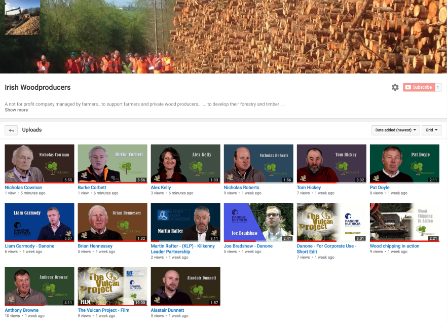Screen Grab from Youtube channel showing the Videos of Wood Producers