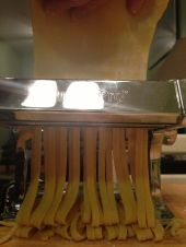 Feed through pasta maker.
