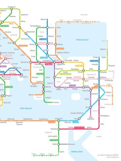 A subway-style map of Roman Empire roads circa 125 A.D.