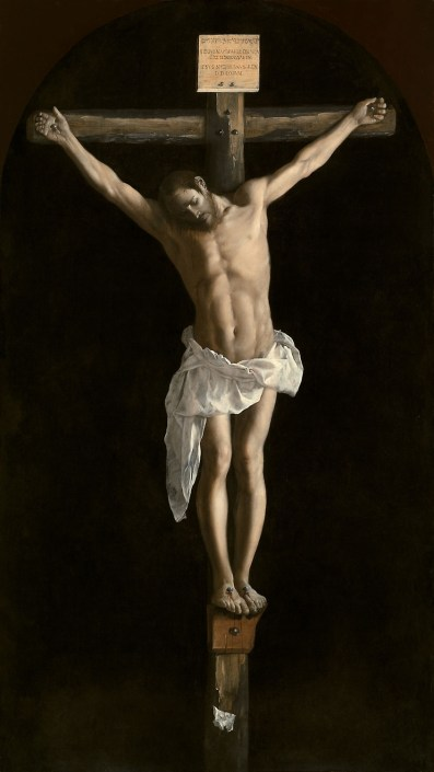 Jesus hung on a brown cross, with his feet on a small ledge. He has white fabric around his waist. The background is black which highlights him. The Crucifixion, 1627 Francisco de Zurbarán