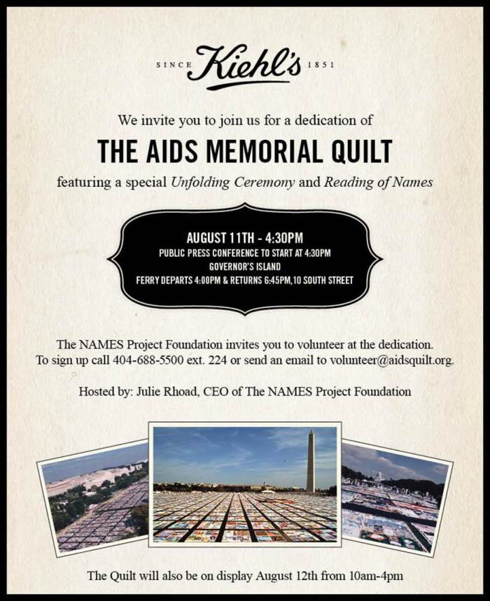 Aug. 11 Dedication of The AIDS Memorial Quilt