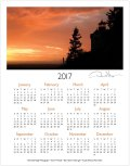 2017 sunset one page calendar
