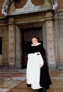 The Rev. Fr. Antonio Royo Marin in from of the main door of the Basilica of Our Lady of Atocha in Madrid, Spain.