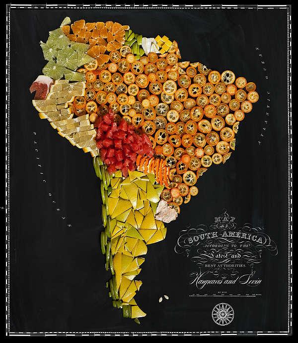 Mapa com Comida Típica de Cada Região América Latina