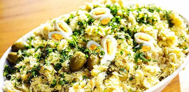 Arroz Natalino com Bacalhau, Lentilhas e Ovos de Codorna
