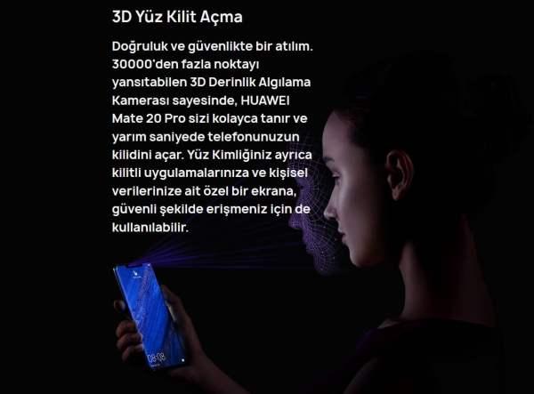 """Huawei Mate 20 Pro, 3 boyutlu yüz tanıma sistemiyle """"yüzünüze özel"""""""