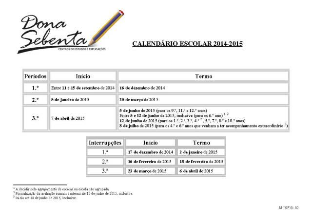 M.INF.01.02 Calendário escolar