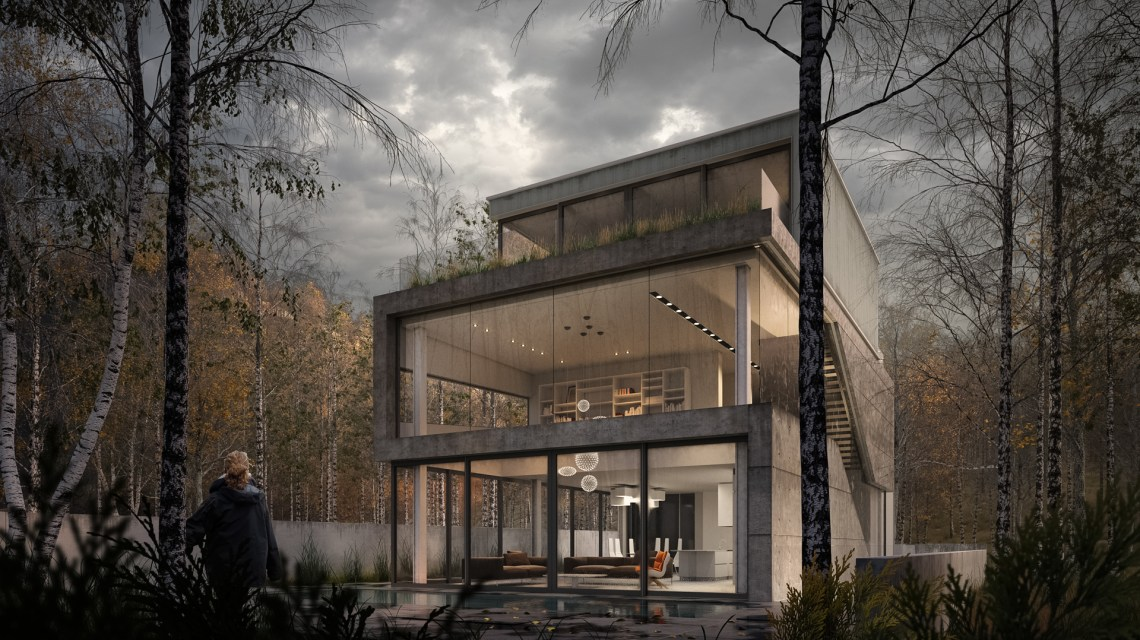 Concrete cut house - rendering 3D by Donato Locantore