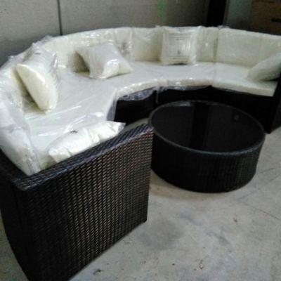 Conjunto de jardín de rattan - sofá y mesa - Ibiza