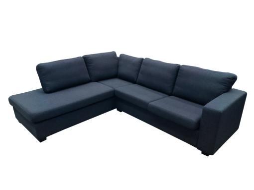 Sofá rinconera tapizado en tela de color gris oscuro - Boris