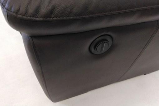 Botón de sistema relax de sofá de 3 plazas. Conjunto de sofás relax de piel natural de color marrón- Leon