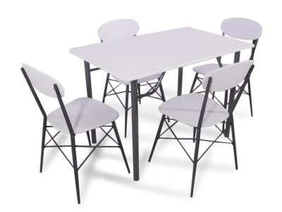 Dining Set - Table and 4 Chairs in White and Grey - Familio