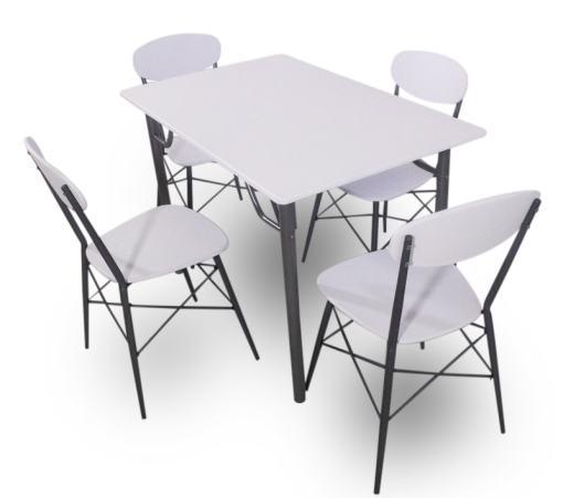 Juego de comedor en color blanco con mesa rectangular 110 x 70 cm y 4 sillas - Familio