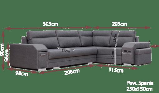 Medidas del sofá rinconera con puf, cama, cajón y arcón - Aruba