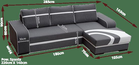 Sof chaise longue cama de color gris oscuro con arc n bay don baraton tienda de sof s - Medidas de sofas chaise longue ...