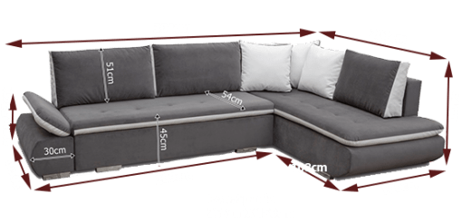 Dimensions. Large Blue Corner Sofa Bed with Cushions - Bondi
