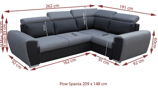 Medidas de sofá rinconera cama gris con reposacabezas reclinables - Bali