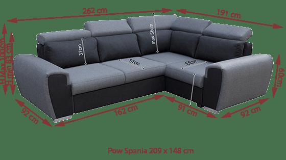Fabric Corner Sofa with Reclining Headrests - Bali