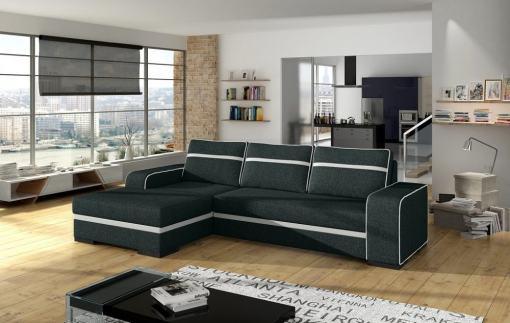 Sofá cama, chaise longue izquierda, gris oscuro con arcón - Bermuda