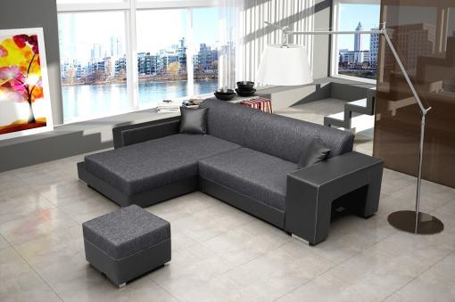 Sofá chaise longue izquierda con cama y puf - Santa Monica. Tela gris. Reposabrazos de piel sintética de color negro
